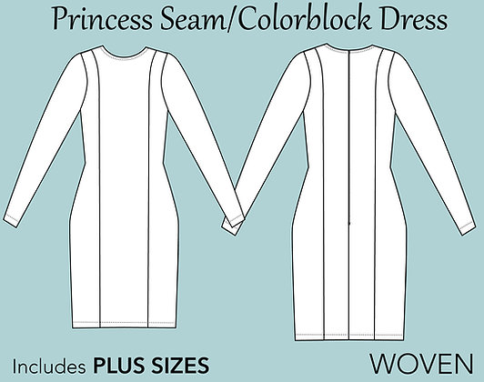 Women's Princess Seam Dress Sewing Pattern XS-6X