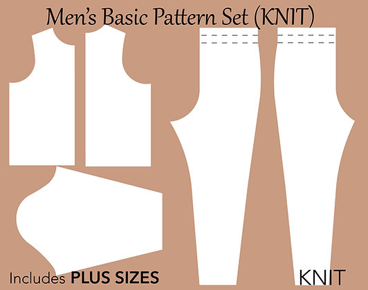 Men's Knit Sloper Sewing Pattern Set  XS-6X
