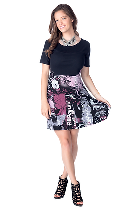 Abstract Print Colorblock Dress