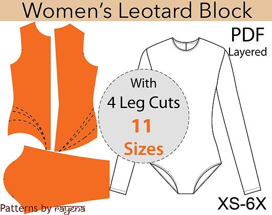 Women's Leotard Block Sewing Pattern XS-6X