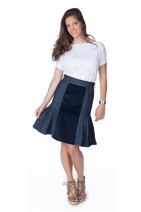 Denim Corduroy Pleated Skirt