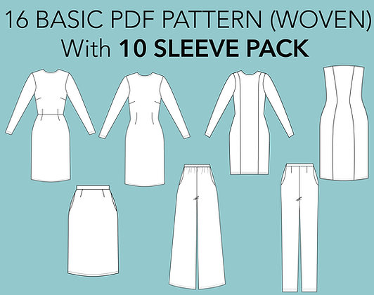Women's 16 Basic Woven Block Sewing Patterns Set