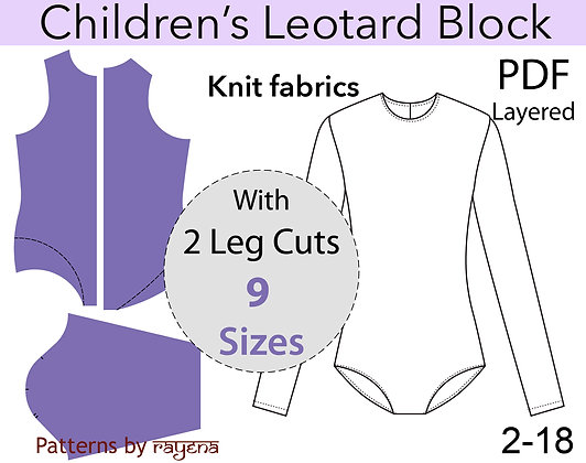 Girl's Leotard Sewing Pattern Sizes 2-18