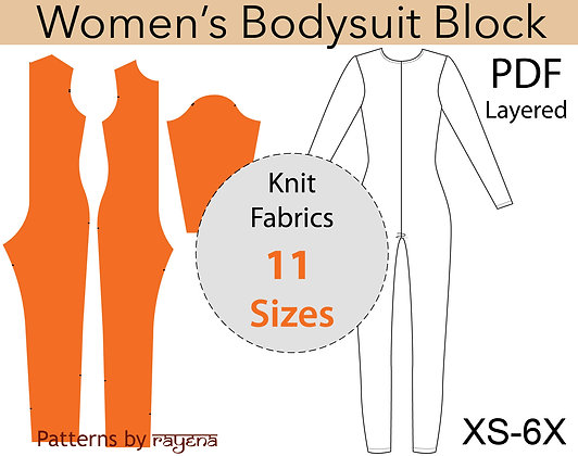 Women's Bodysuit Block Sewing Pattern XS-6X