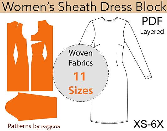 Women's Sheath Dress Sewing Pattern XS-6X
