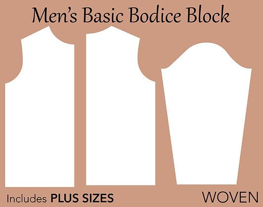 Men's Basic Block Sewing Pattern XS-6X