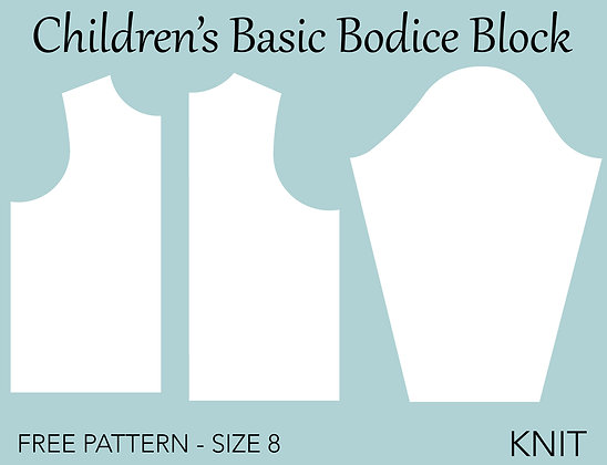 Children's Bodice Sloper Sewing Pattern Size 8