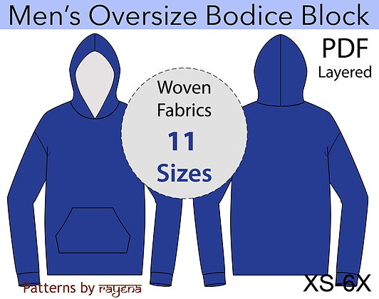Men's Oversize Bodice Block Sewing Pattern XS-6X