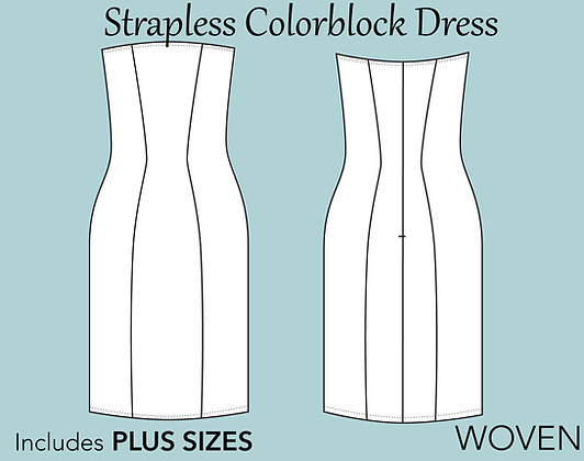 Women's Strapless Dress Sewing Pattern XS-6X