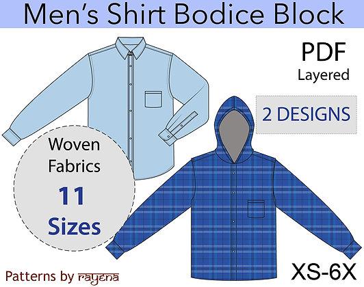 Men's Shirt Block Sewing Pattern XS-6X