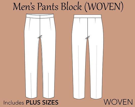 Men's Pants Block Sewing Pattern XS-6X