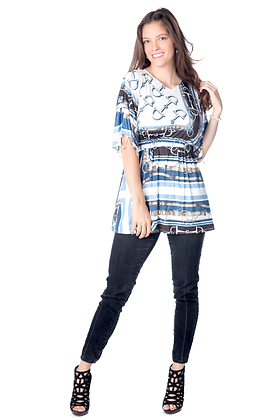 Horsebit Print Embellished Tunic
