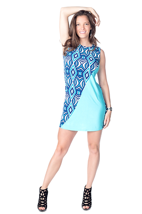 Asymmetric Panel Colorblock Dress
