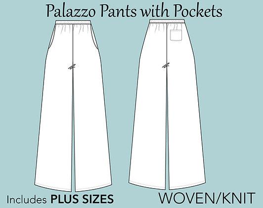 Women's Palazzo Pants Sewing Pattern XS-6X