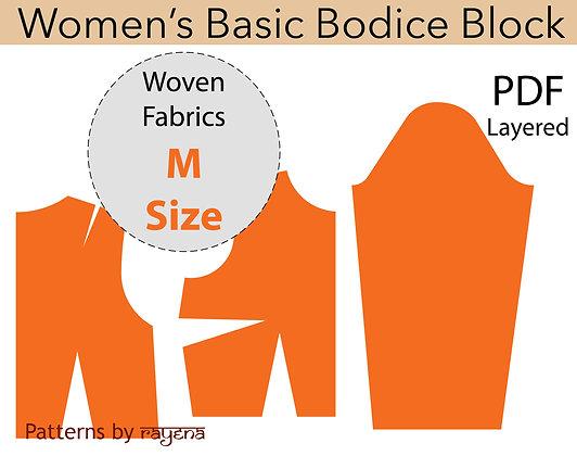 Women's Bodice Block Sewing Pattern Size M