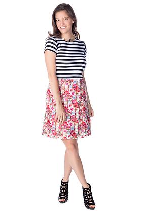 Color Block Striped Floral Sheath Dress