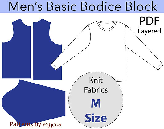 Men's Basic Bodice Block Sewing Pattern Size M