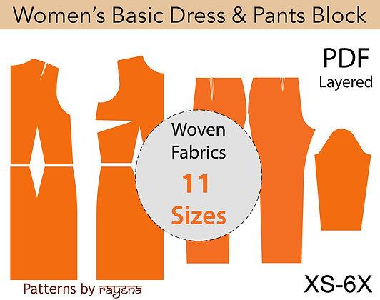 Women's Basic Woven Block Sewing Pattern XS-6X