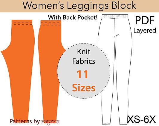 Women's Knit Leggings Block Sewing Pattern XS-6X