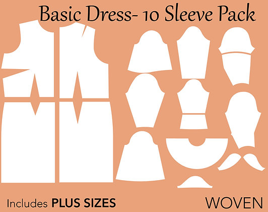 Women's Basic Dress Pattern w/ 10 Sleeves Pack XS-6X