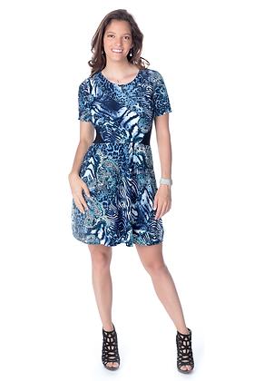 Laser Cut Animal Print Colorblock Dress