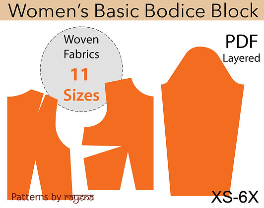 Women's Bodice Block Sewing Pattern XS-6X