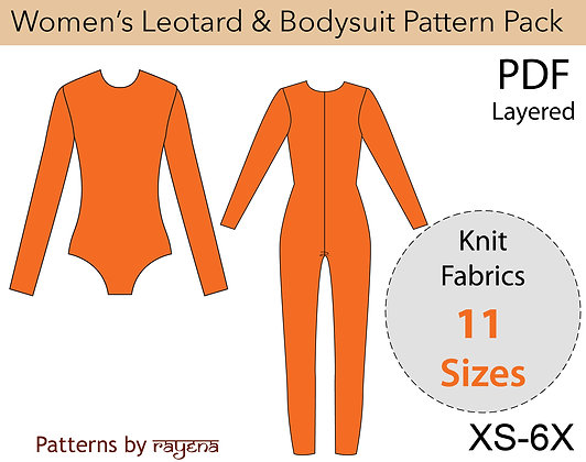 Women's Leotard & Bodysuit Sewing Pattern XS-6X