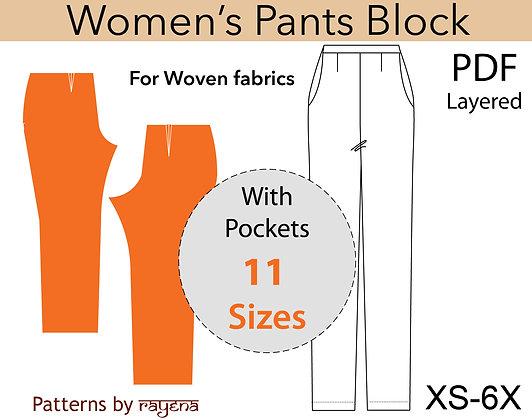 Women's Woven Pants Block Sewing Pattern XS-6X