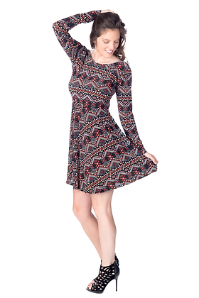 Tribal Print Fit and Flare Dress