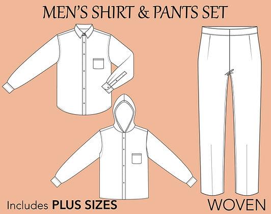 Men's Basic Woven Block Sewing Pattern XS-6X