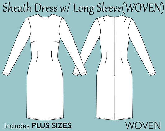 Women's Sheath Dress Sewing Pattern XS-6X