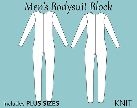 Men's Bodysuit  Block Sewing Pattern XS-6X