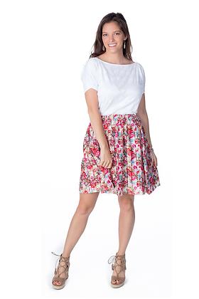 Floral Laser Cut Skater Skirt