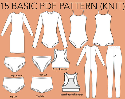 Women's 15 Basic Knit Block Sewing Patterns Set