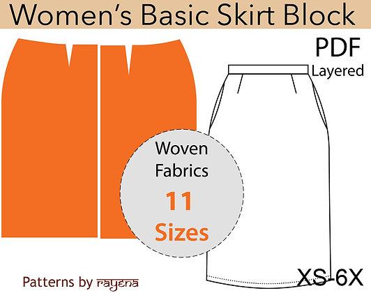 Women's Basic Skirt Block Sewing Pattern XS-6X