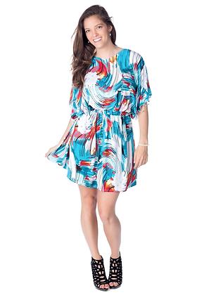 Multicolor Strokes Print Kimono Dress