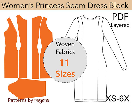 Women's Princess Seam Dress Sewing Pattern XS-6X