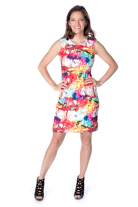 Multicolor Splash Print Dress