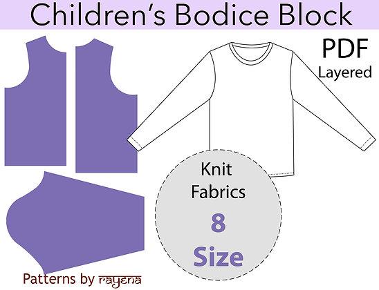 Children's Bodice Sloper Sewing Pattern Size 8