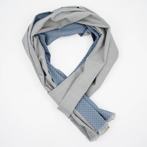 Reversible Scarf made of wool and cotton cir. 27x200cm. Handmade in Berlin. Check+Polka Dot. Grey+Grey