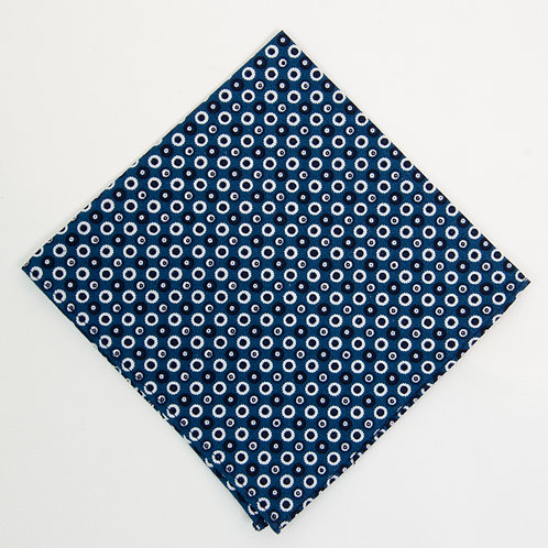 Pocket square made of cotton blend cir. 28x28cm. Handmade in Berlin. Circle Dot. Blue