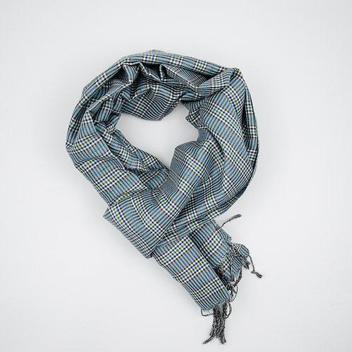 Silk scarf cir. 50x170cm. Handmade and hand woven loom.Check.Turquoise