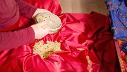 Reis und Scheibe für Mandala Gaben