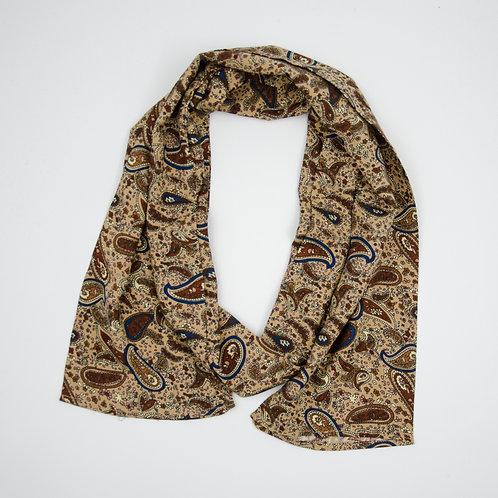 Slim scarf made of silk cir.15x140cm. Double face. Handmade in Berlin. Paisley. Dark Brown