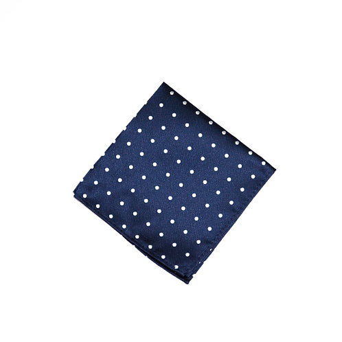 Pocket square made of jacquard silk cir. 25x25cm. Dots. Blue