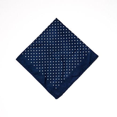Pocket Square made of silk cir.34x34cm. Polka dot. Dark Blau
