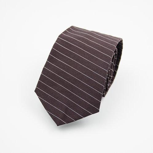 Necktie made of wool cir. 7x145cm. Handmade in Berlin. Horizontal Stripe. Brown