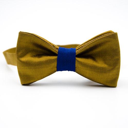 Fliege für Herren Anzug/Hemd aus Seide. Vorgebunden. Ca. 6x12cm.Gold+Blau