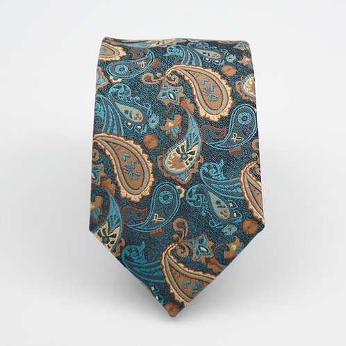 Necktie made of jacquard silk cir.6x145cm.Paisley.Green