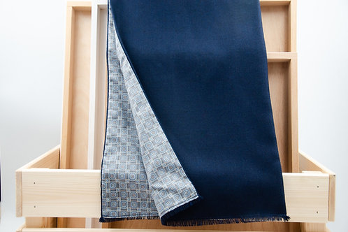 Men's scarf for a jacket / suit. Wool scarf for men. Blue + dots